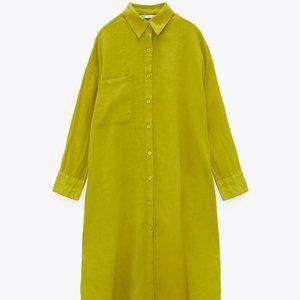 NWT Oversized Lime Long Linen Shirt XL